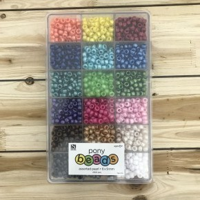 2300 Piece Assorted Pearl Color Pony Bead Set