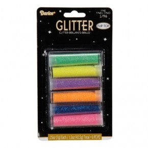 Darice Glitter - Assorted Neon Colors - 6 Pieces