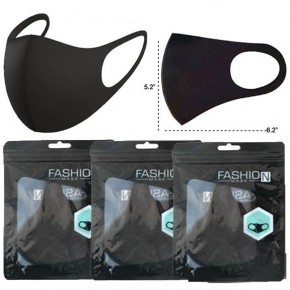 3 Pack -  Solid Black Unisex Face Covering (mask)