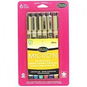 Micron Pigma Marker Set, 6 Piece, Black/Blue/Green/Red/Purple/Brown, Size 01 (.25mm)