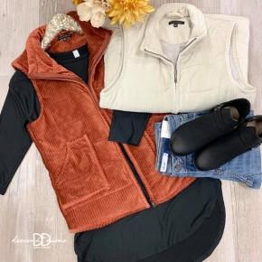 Corduroy High Neck Zip Up Vest *Final Sale*
