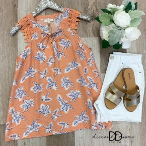 Tropical Print Lace Sleeveless  Top