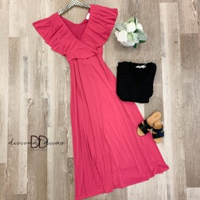 Solid Maxi Dress with Open Slit