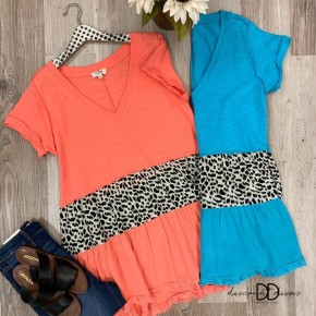 V-Neck Babydoll Top With Animal Print Detail