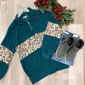 Long Sleeve Pull Over with Animal Print Detail *Final Sale*