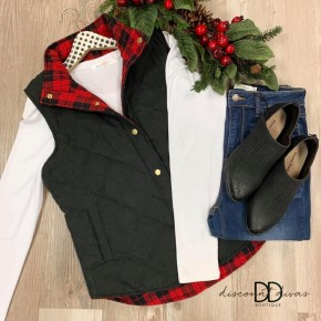 Quilted Reverse Buffalo Plaid Vest