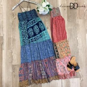 One Size Sleeveless Tiered Print Dress