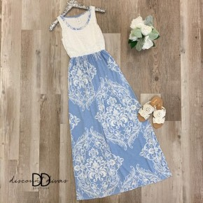 Sleeveless Maxi With Floral Print Detail