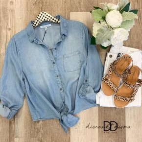 3/4 Sleeve Button Down Top With Front Tie Detail