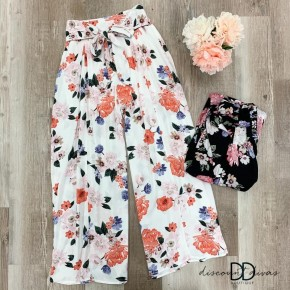 Floral Wide Legged Pants with Waist Tie