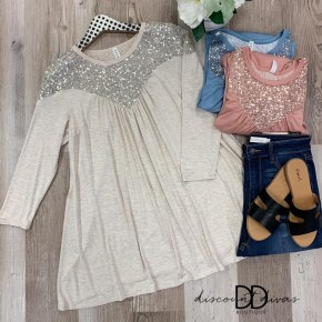 Long Sleeve Top With Sequin Detail