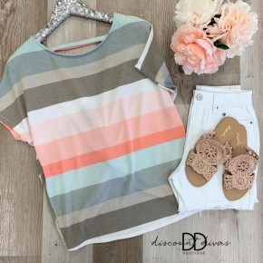 Short Sleeve Striped Top With Open Back Detail