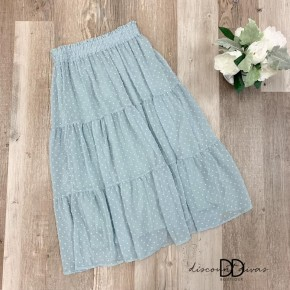Swiss Dot Skirt With Tiered Detail