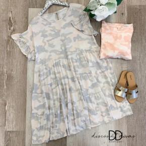 Camouflage Ruffle Sleeve Dress