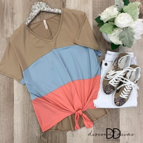 Short Sleeve Color Block Top With Front Knot Detail