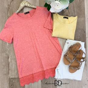 Short Sleeve Top With Back Button Detail