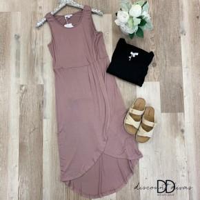 Jersey Pleated Side Hem Knit Dress