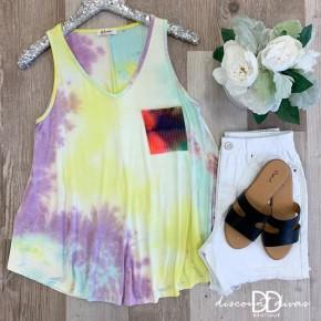 Sleeveless Tie Dye Top With Tie Dye Print Pocket
