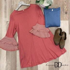 3/4 Bell Sleeve Dress With Stripe Sleeve Detail