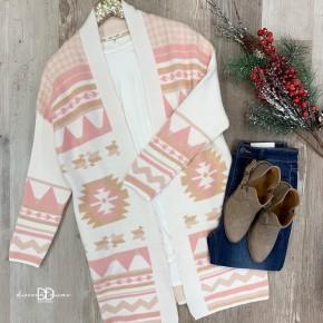 Long Sleeve Print Cardigan With Side Pocket *Final Sale*
