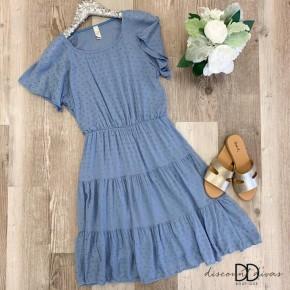 Short Sleeve Ruffle Bottom Dress