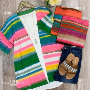 Short Ruffled Sleeve Multi Color Kimono