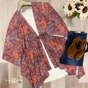 Cap Sleeve Kimono With Waist Tie