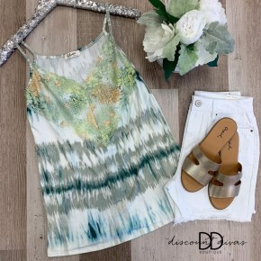 Sleeveless Tie Dye Top With Lace Detail