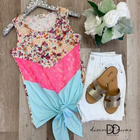 Sleeveless Floral Print Top With Front Tie Detail