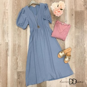 V Neck Maxi Dress with Front Smocking