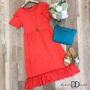 Short Sleeve Dress With Ruffle Hem Detail