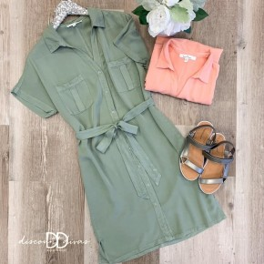 Short Sleeve Front Tie Dress With Front Pockets