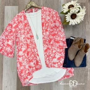 Flower Print Chiffon Kimono Cardigan