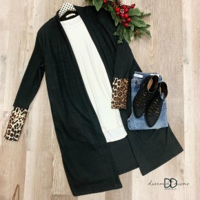 Long Sleeve Cardigan With Animal Print Cuff Detail *Final Sale*
