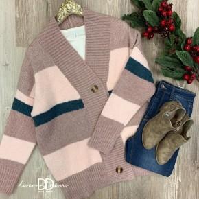 Color Block Button Down Sweater Cardigan *Final Sale*