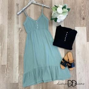 Spaghetti Strap Dress with Button Detail