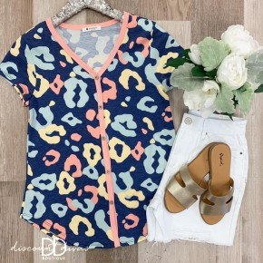 Animal Print Top With Button Down Front