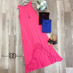 Ruffled Maxi Dress With High-Low Hem And Pockets