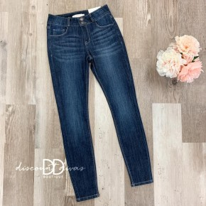 Mid Rise Button Skinny Jeans
