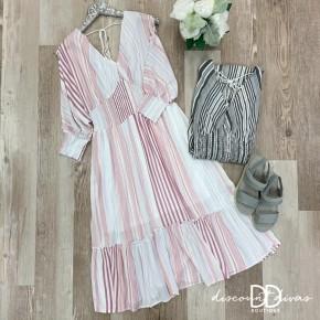3/4 Sleeve Stripe Dress With Tassel Detail