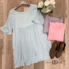 Short Ruffle Sleeve Babydoll Dress