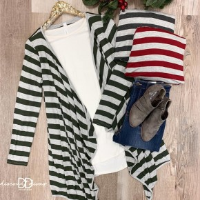 Long Sleeve Striped Cardigan With Sharkbite Hem *Final Sale*