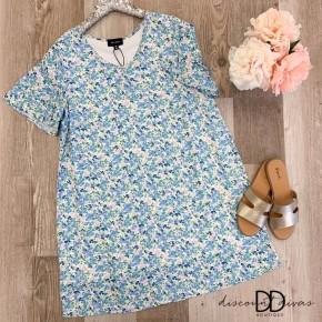 Floral V-Neck Ruffle Sleeve Shift Dress