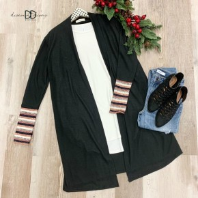 Long Sleeve Cardigan with Stripe Cuff *Final Sale*