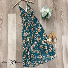 Sleevless Floral Print Dress With High Low Hem
