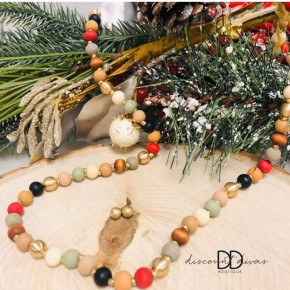 Gold and Wood Beaded Necklace and Earring Set