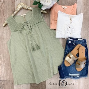 Laced Up Front Sleeveless Top