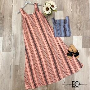 Sleeveless Tribal Print Maxi Dress