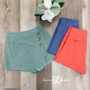 Wrap Shorts With Side Zipper Detail