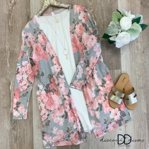 Long Sleeve Floral Cardigan